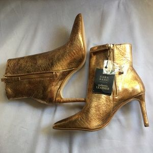 Zara genuine leather gold ankle booties